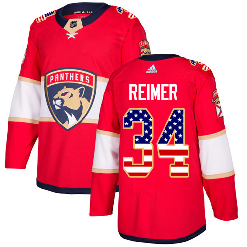 Adidas Panthers #34 James Reimer Red Home Authentic USA Flag Stitched NHL Jersey
