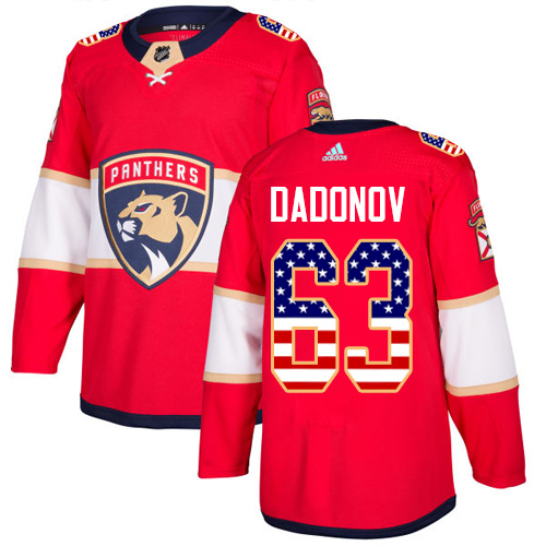 Adidas Panthers #63 Evgenii Dadonov Red Home Authentic USA Flag Stitched NHL Jersey
