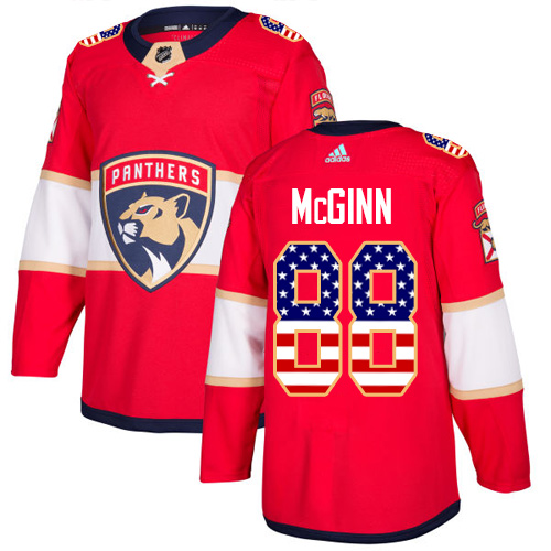 Adidas Panthers #88 Jamie McGinn Red Home Authentic USA Flag Stitched NHL Jersey