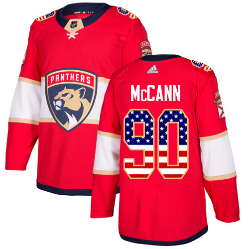 Adidas Panthers #90 Jared McCann Red Home Authentic USA Flag Stitched NHL Jersey