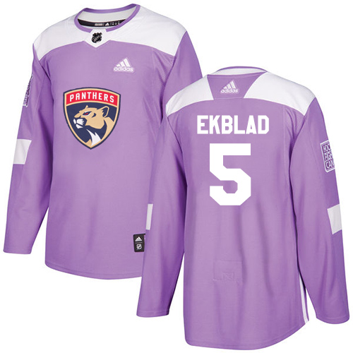 Adidas Panthers #5 Aaron Ekblad Purple Authentic Fights Cancer Stitched NHL Jersey