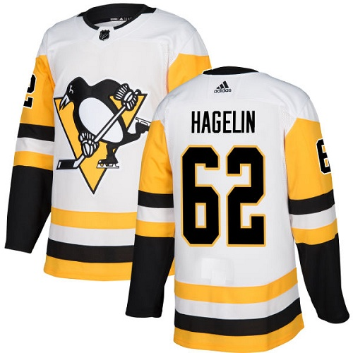 Adidas Penguins #62 Carl Hagelin White Road Authentic Stitched NHL Jersey