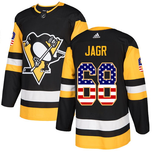 Adidas Penguins #68 Jaromir Jagr Black Home Authentic USA Flag Stitched NHL Jersey