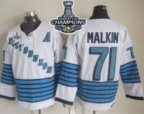 Penguins #71 Evgeni Malkin White/Light Blue CCM Throwback Stanley Cup Finals Champions Stitched NHL Jersey