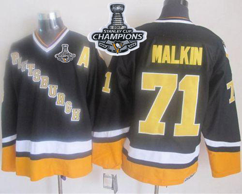 Penguins #71 Evgeni Malkin Black/Yellow CCM Throwback Stanley Cup Finals Champions Stitched NHL Jersey