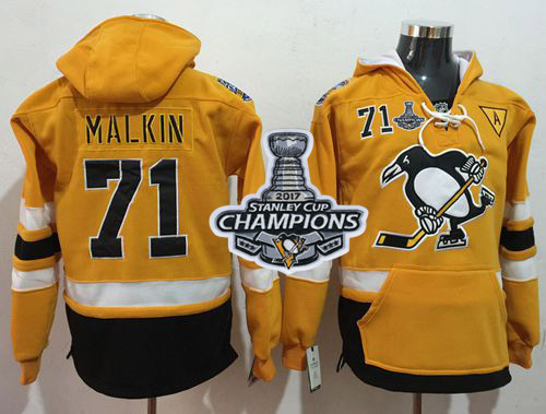 Penguins #71 Evgeni Malkin Gold Sawyer Hooded Sweatshirt Stadium Series Stanley Cup Finals Champions Stitched NHL Jersey