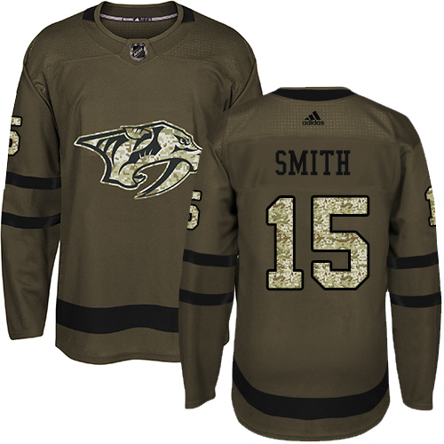 Adidas Predators #15 Craig Smith Green Salute to Service Stitched NHL Jersey