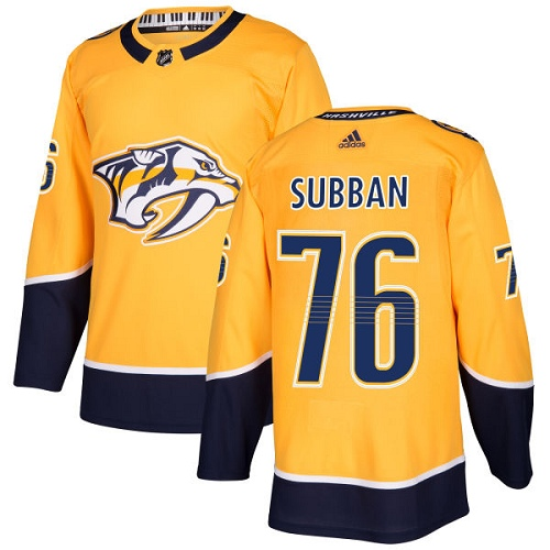 Adidas Predators #76 P.K Subban Yellow Home Authentic Stitched NHL Jersey