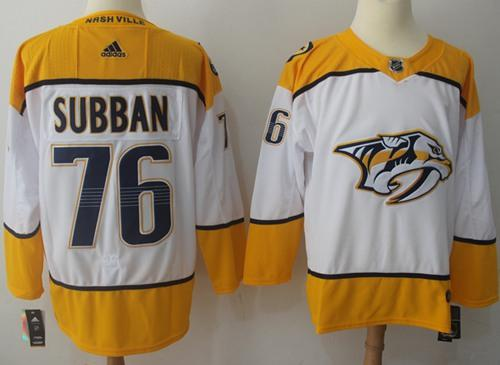 Adidas Predators #76 P.K Subban White Road Authentic Stitched NHL Jersey