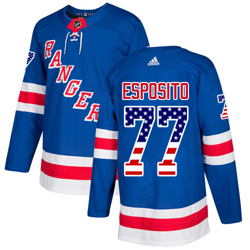 Adidas Rangers #77 Phil Esposito Royal Blue Home Authentic USA Flag Stitched NHL Jersey