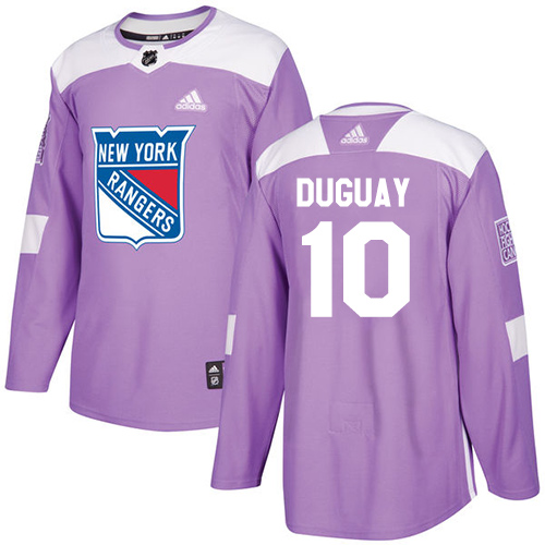 Adidas Rangers #10 Ron Duguay Purple Authentic Fights Cancer Stitched NHL Jersey