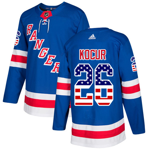Adidas Rangers #26 Joe Kocur Royal Blue Home Authentic USA Flag Stitched NHL Jersey