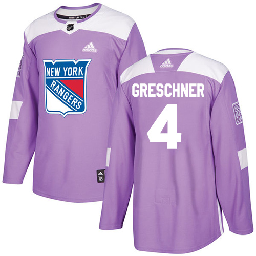 Adidas Rangers #4 Ron Greschner Purple Authentic Fights Cancer Stitched NHL Jersey