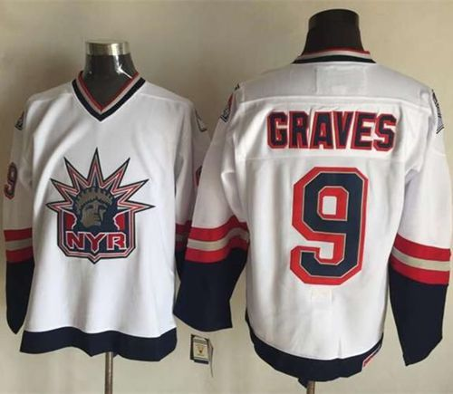 Rangers #9 Adam Graves White CCM Statue of Liberty Stitched NHL Jersey