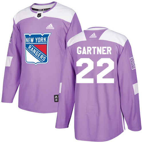 Adidas Rangers #22 Mike Gartner Purple Authentic Fights Cancer Stitched NHL Jersey