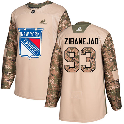 Adidas Rangers #93 Mika Zibanejad Camo Authentic Veterans Day Stitched NHL Jersey