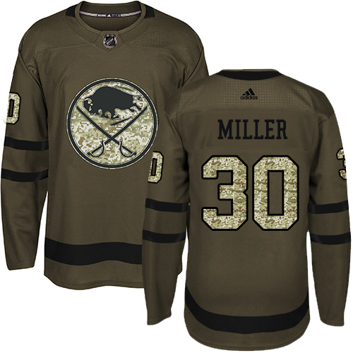 Adidas Sabres #30 Ryan Miller Green Salute to Service Stitched NHL Jersey