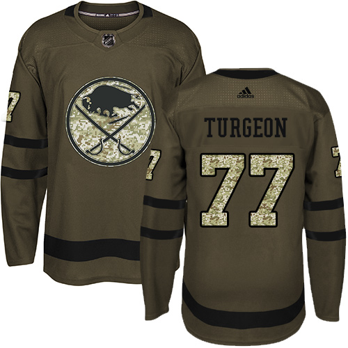 Adidas Sabres #77 Pierre Turgeon Green Salute to Service Stitched NHL Jersey