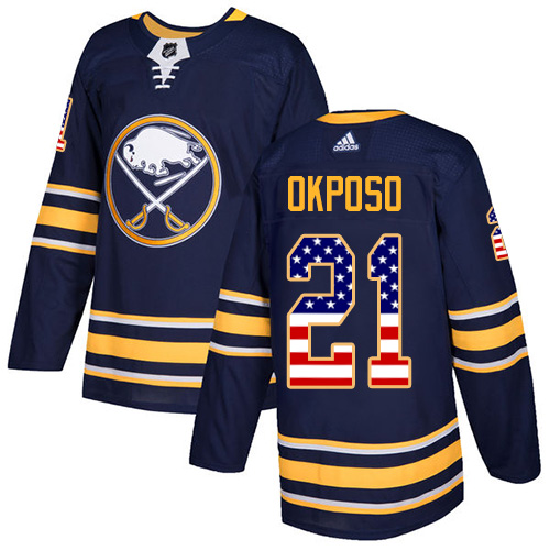 Adidas Sabres #21 Kyle Okposo Navy Blue Home Authentic USA Flag Stitched NHL Jersey