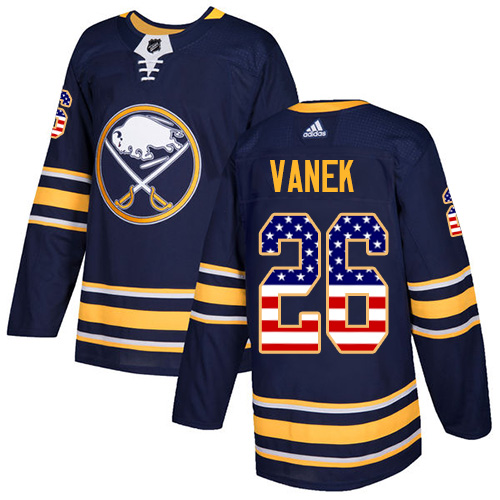 Adidas Sabres #26 Thomas Vanek Navy Blue Home Authentic USA Flag Stitched NHL Jersey