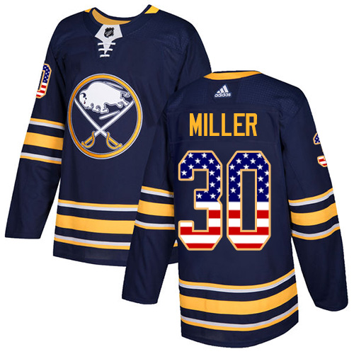 Adidas Sabres #30 Ryan Miller Navy Blue Home Authentic USA Flag Stitched NHL Jersey