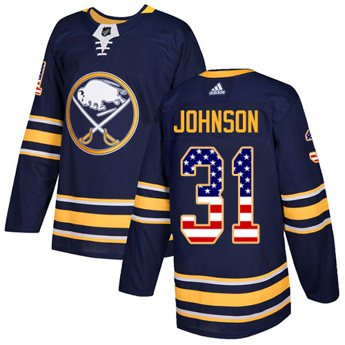 Adidas Sabres #31 Chad Johnson Navy Blue Home Authentic USA Flag Stitched NHL Jersey
