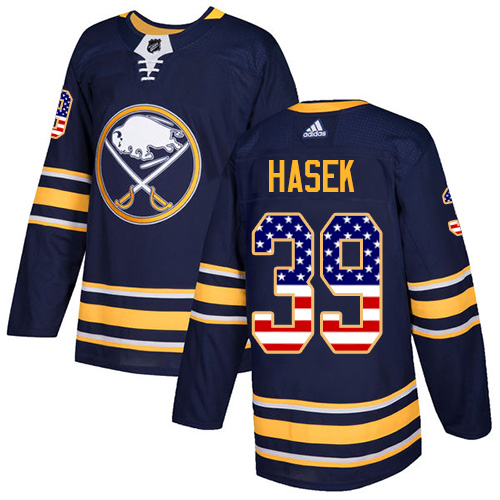 Adidas Sabres #39 Dominik Hasek Navy Blue Home Authentic USA Flag Stitched NHL Jersey