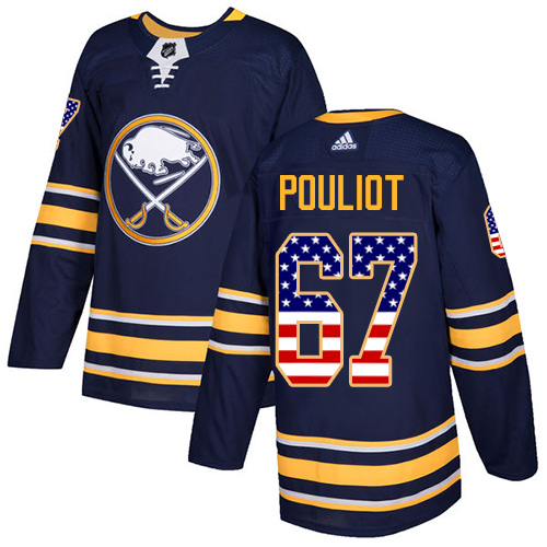 Adidas Sabres #67 Benoit Pouliot Navy Blue Home Authentic USA Flag Stitched NHL Jersey