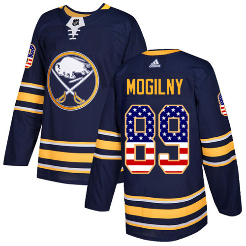 Adidas Sabres #89 Alexander Mogilny Navy Blue Home Authentic USA Flag Stitched NHL Jersey