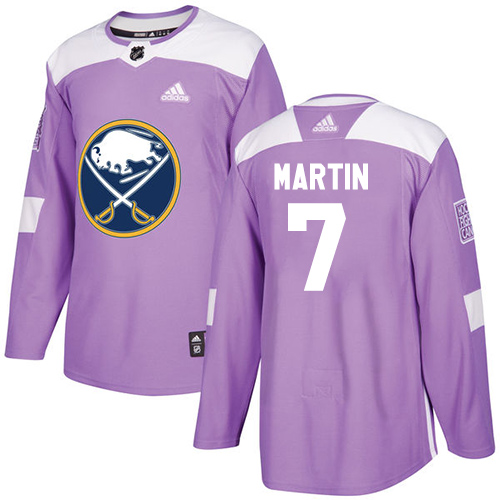 Adidas Sabres #7 Rick Martin Purple Authentic Fights Cancer Stitched NHL Jersey