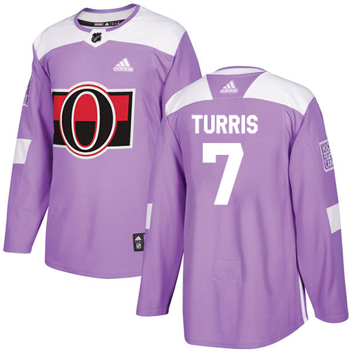 Adidas Senators #7 Kyle Turris Purple Authentic Fights Cancer Stitched NHL Jersey