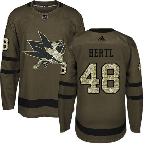 Adidas Sharks #48 Tomas Hertl Green Salute to Service Stitched NHL Jersey