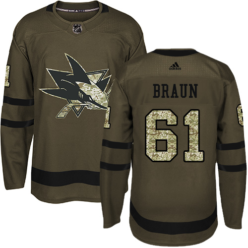 Adidas Sharks #61 Justin Braun Green Salute to Service Stitched NHL Jersey