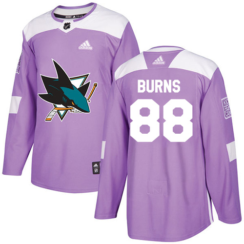 Adidas Sharks #88 Brent Burns Purple Authentic Fights Cancer Stitched NHL Jersey