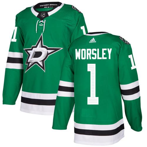 Adidas Stars #1 Gump Worsley Green Home Authentic Stitched NHL Jersey