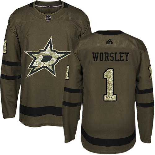 Adidas Stars #1 Gump Worsley Green Salute to Service Stitched NHL Jersey
