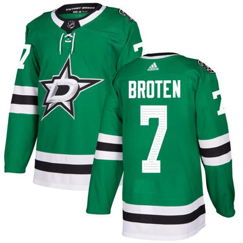Adidas Stars #7 Neal Broten Green Home Authentic Stitched NHL Jersey