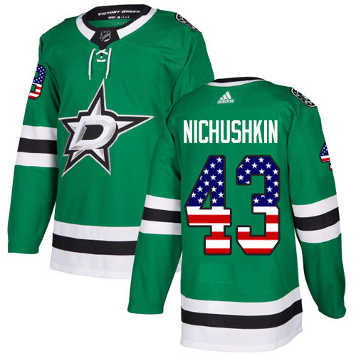 Adidas Stars #43 Valeri Nichushkin Green Home Authentic USA Flag Stitched NHL Jersey