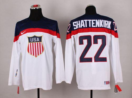 2014 Olympic Team USA #22 Kevin Shattenkirk White Stitched NHL Jersey