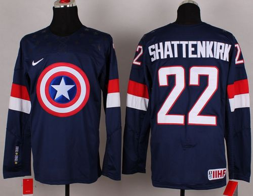 Olympic Team USA #22 Kevin Shattenkirk Navy Blue Captain America Fashion Stitched NHL Jersey