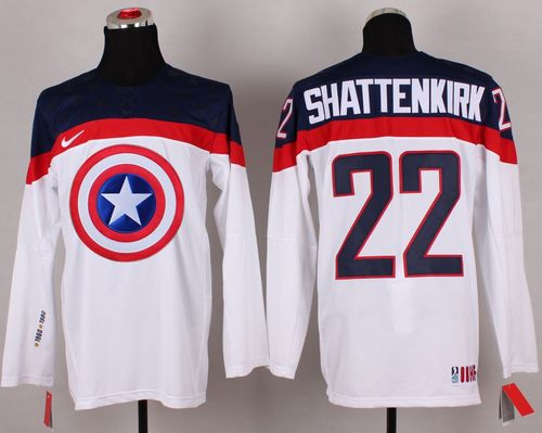 Olympic Team USA #22 Kevin Shattenkirk White Captain America Fashion Stitched NHL Jersey