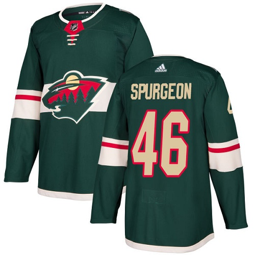 Adidas Wild #46 Jared Spurgeon Green Home Authentic Stitched NHL Jersey