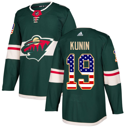 Adidas Wild #19 Luke Kunin Green Home Authentic USA Flag Stitched NHL Jersey