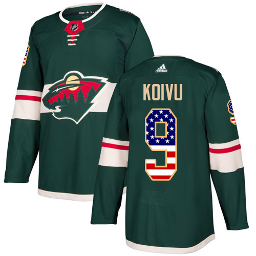 Adidas Wild #9 Mikko Koivu Green Home Authentic USA Flag Stitched NHL Jersey