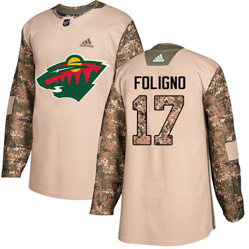 Adidas Wild #17 Marcus Foligno Camo Authentic Veterans Day Stitched NHL Jersey