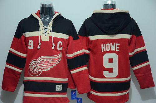 Red Wings #9 Gordie Howe Red Sawyer Hooded Sweatshirt Stitched NHL Jersey