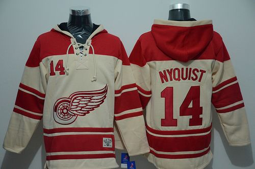 Red Wings #14 Gustav Nyquist Cream Sawyer Hooded Sweatshirt Stitched NHL Jersey