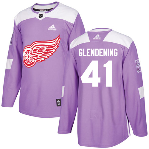 Adidas Red Wings #41 Luke Glendening Purple Authentic Fights Cancer Stitched NHL Jersey