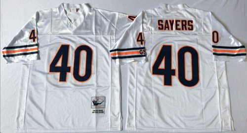Mitchell&Ness Bears #40 Gale Sayers White Small No. Throwback Stitched NFL Jersey