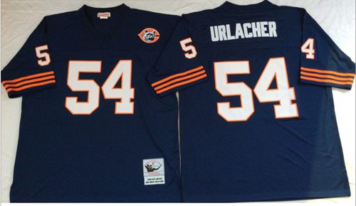 Mitchell&Ness Bears #54 Brian Urlacher Blue Big No. Throwback Stitched NFL Jersey